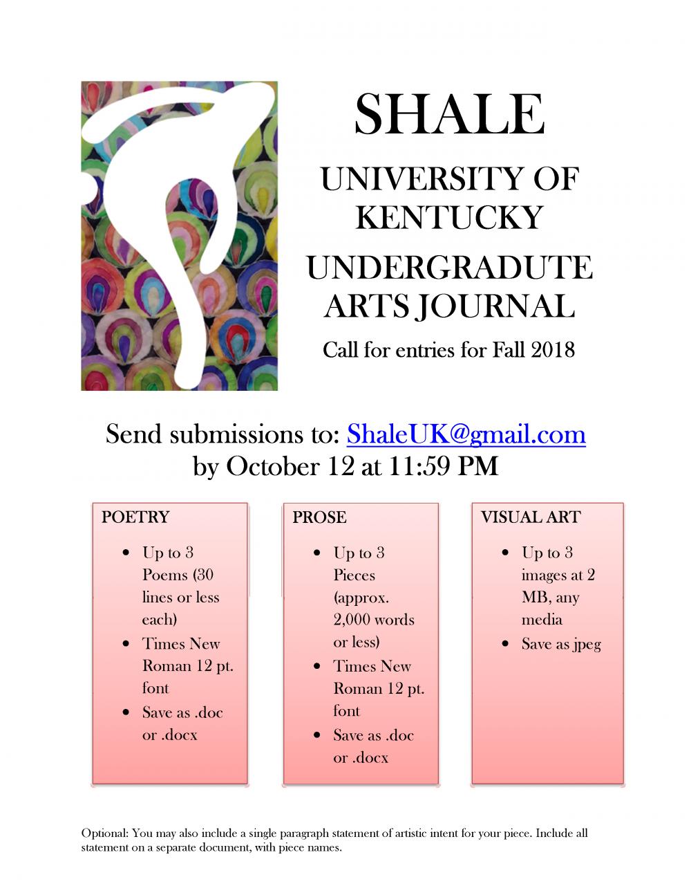 Shale--An Undergraduate Literary Magazine | English